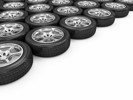 retreading: Car Wheels isolated on white background with place for your text