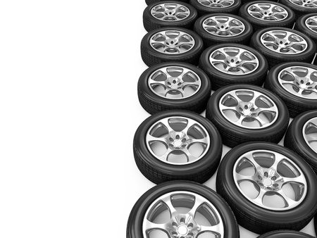 Car Wheels isolated on white background with place for your text Stock Photo - 20055189