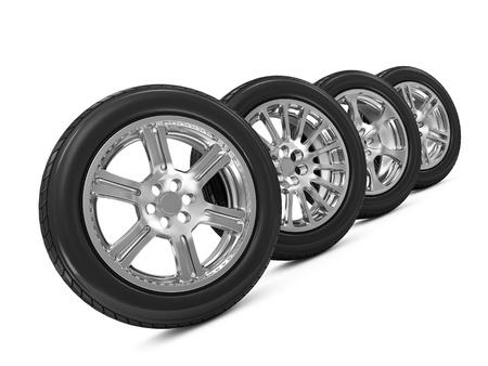 Car Wheels isolated on white background Stock Photo - 20055153