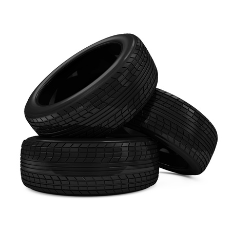 retreading: Heap of Car Tires isolated on white background