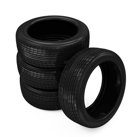 retreading: Stack of Car Tires isolated on white background