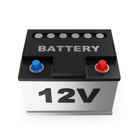 battery icon: Car Battery isolated on white background Stock Photo