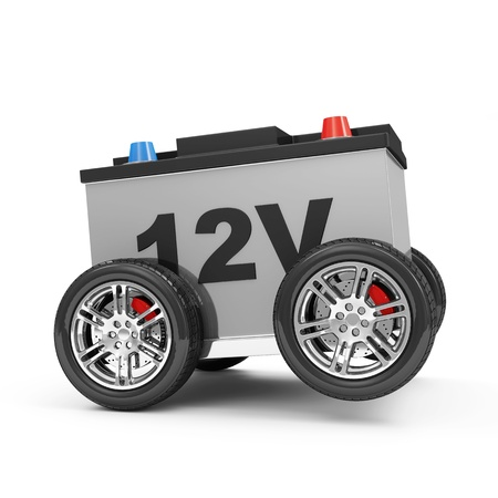 accu: Car Battery on Wheels isolated on white background