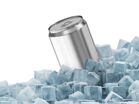Can of Beer in Ice Cubes isolated on white background photo