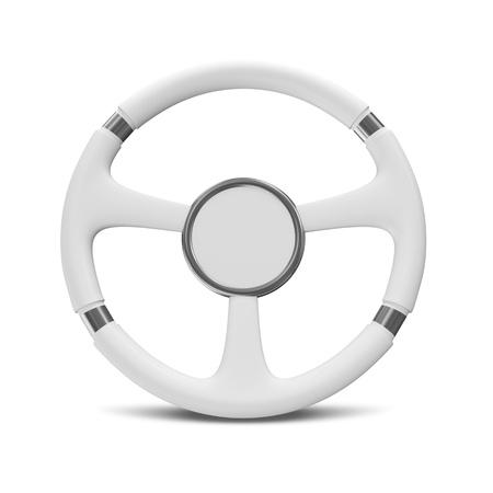 front wheel: White Steering Wheel on white background