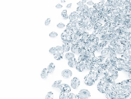topaz: Blue Diamonds on white background with place for your text