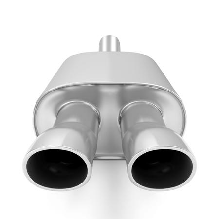 contaminacion acustica: Tubo de escape del coche aislado en el fondo blanco