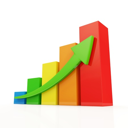 Colorful Business Graph on white background photo