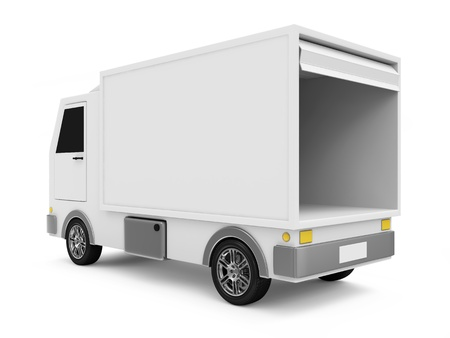 White Delivery Van on white background Stock Photo