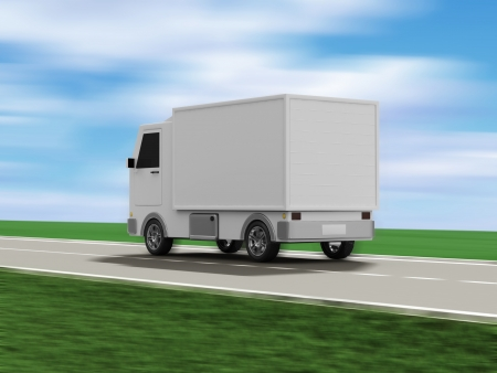 moving truck: Delivery Van on the Asphalted Road with Motion Blur Stock Photo