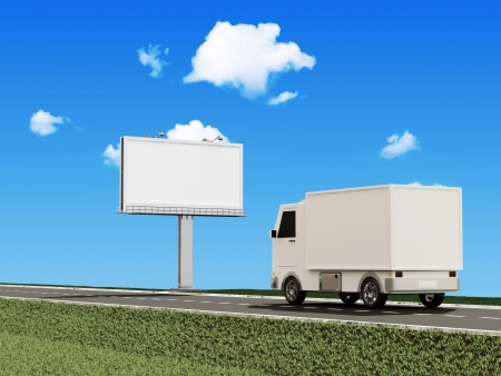 Delivery Van on the Asphalted Road with Blank Billboard photo