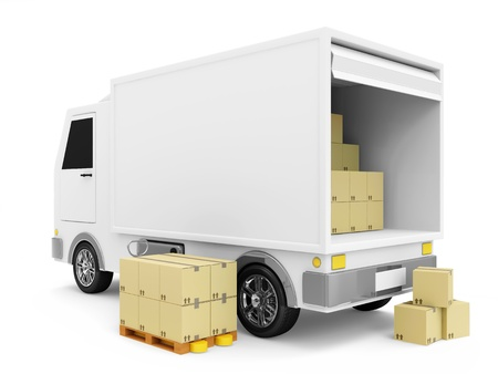 van: Delivery Van with a Boxes on white background Stock Photo