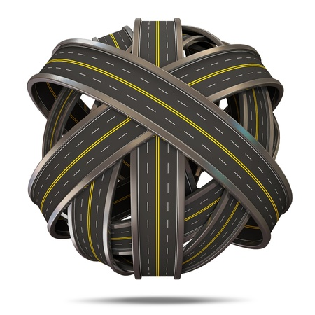 disorganized: Abstract Sphere From Asphalted Road isolated on white background