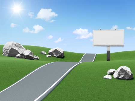 autobahn: Blank Billboard near the asphalted road on beautiful landscape background
