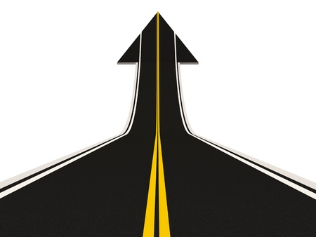 Road in Shape of Arrow isolated on white background  Success Concept  photo