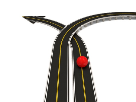Abstract illustration of asphalt road in shape of arrow  Success Concept