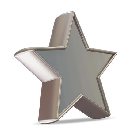 favorite colour: Silver Star on white background Stock Photo