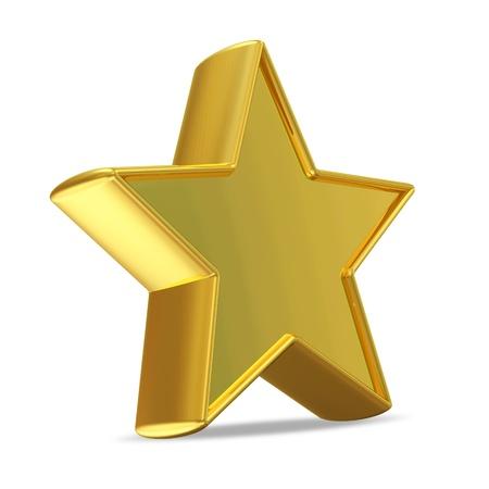favourites: Golden Star on white background Stock Photo