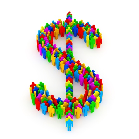 Dollar Symbol made from Colorful People on white background Stock Photo