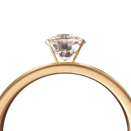 ring light: Golden Wedding Ring with Diamond isolated on white background Stock Photo
