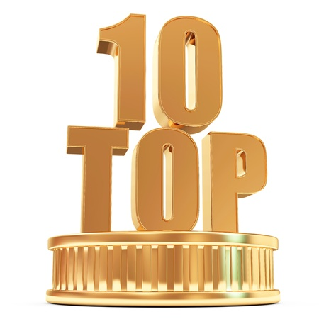 Golden Top 10 on a podium isolated on white background photo