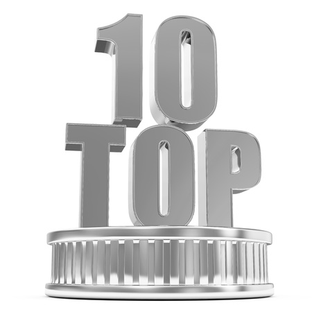 top rated: Silver Top 10 on a podium isolated on white background Stock Photo