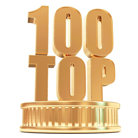 Golden Top 100 on a podium isolated on white background photo