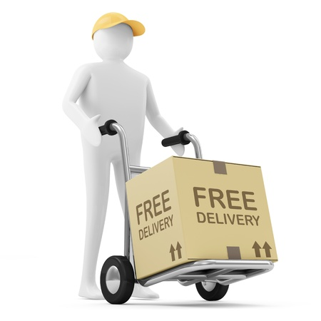 delivers: 3d Man Delivers the Goods  Free Delivery Concept