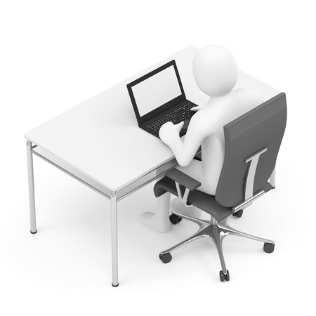 3d Man Sitting at the Table with Laptop photo