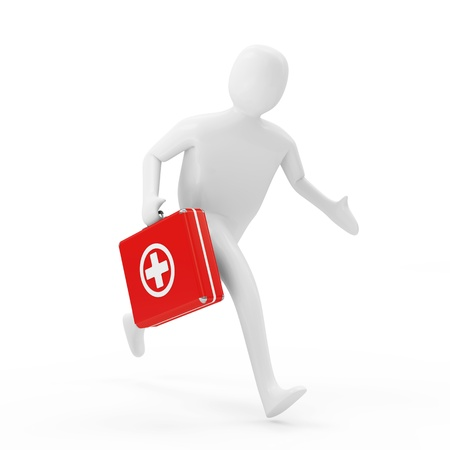 3d Man Running with First Aid Box photo
