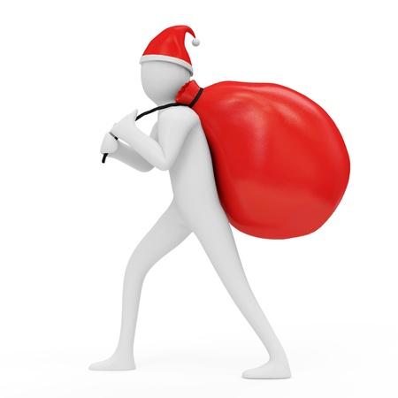 pull toy: Hombre 3d que lleva un bolso de regalos