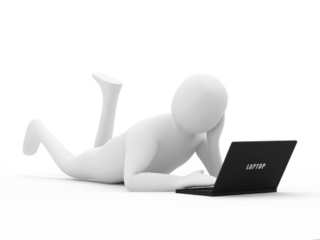 3d Man with Laptop isolated on white background photo