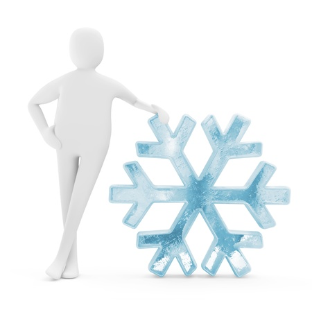 3d Man with Icy Snowflake Icon isolated on white background photo