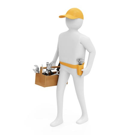 standard steel: 3d Man with Toolbox isolated on white background Stock Photo