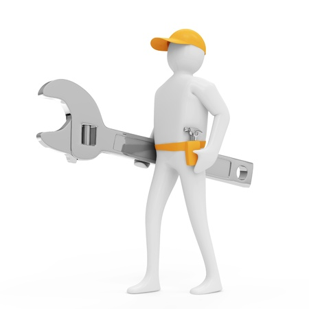 3d Man with Wrench isolated on white background photo