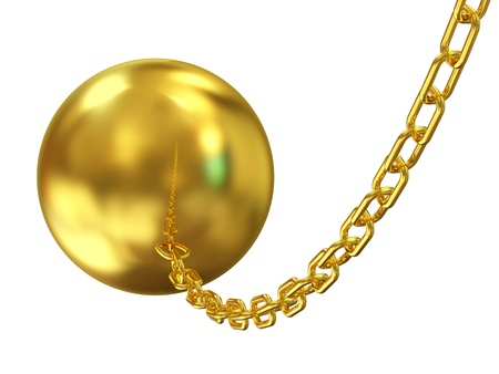 Golden Wrecking ball on white background photo