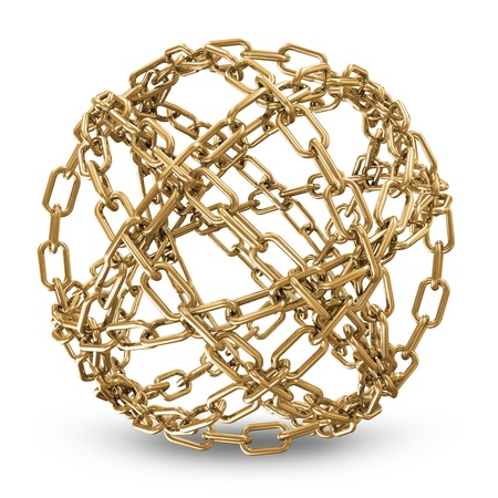 Abstract Sphere Made From Golden Chains on white background photo