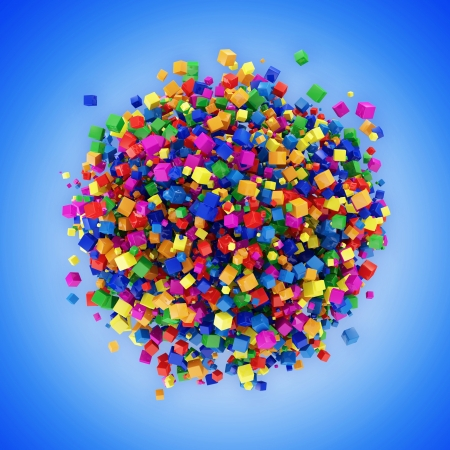 Abstract Sphere Made from Colorful Cubes on blue background photo