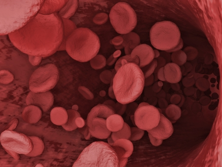 coagulation: Digital Illustration of a Red Blood Cells Flowing Through Vein Stock Photo