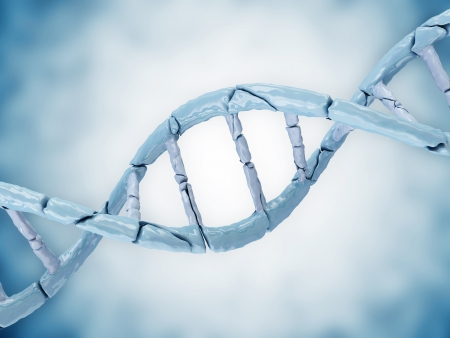 Digital illustration of a Broken DNA on blue background Stock Illustration - 20084510