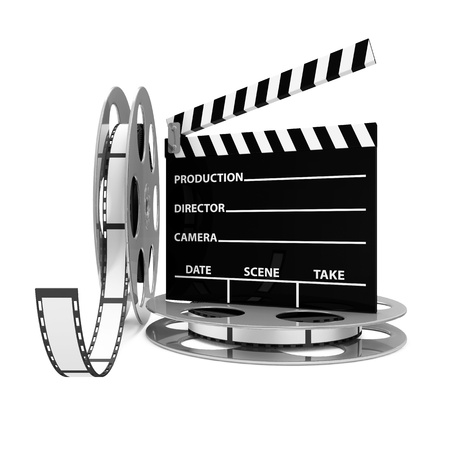 edition: Cinema Clap and Film Rolls isolated on white background