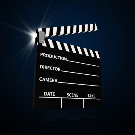 film title: Abstract Illustration of Cinema Clap with Spotlight Stock Photo