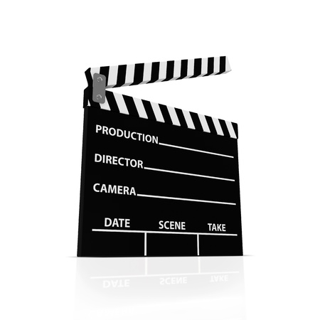 clicker: Cinema Clap isolated on white background Stock Photo