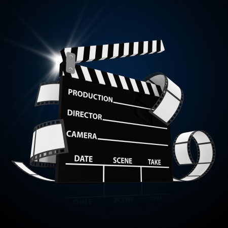 Abstract Illustration of Cinema Clap with Film Strip and Spotlight illustration