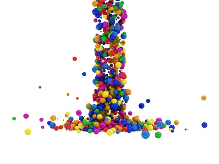 sphere standing: Abstract Illustration of Colorful Balls Falling on white background