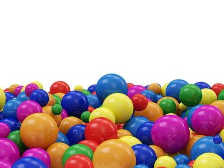 Heap of Colorful Balls isolated on white background with place for Your text photo