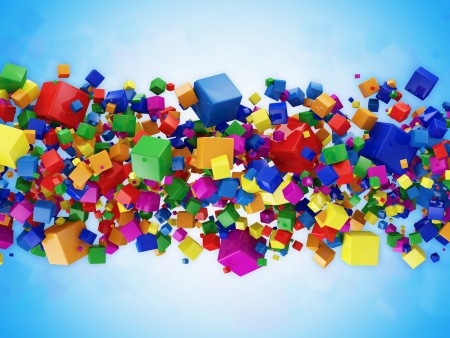 Abstract Illustration of Colorful Cubes on blue background illustration