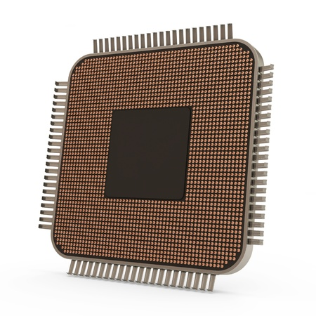 processing speed: Modern CPU - Central Processing Unit isolated on white background  Back Side Stock Photo