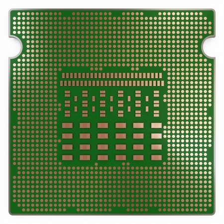 Modern CPU - Central Processing Unit isolated on white  Back Side photo