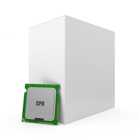 Modern CPU - Central Processing Unit with Blank Box isolated on white  photo